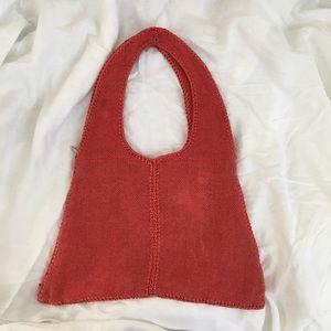 Vintage Boho Woven Knit Shoulder Bag with Zipper